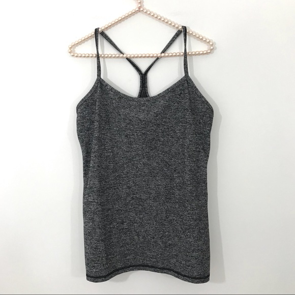 3024f7640968d lululemon athletica Tops - Lululemon Heathered Grey Power Y Tank Top